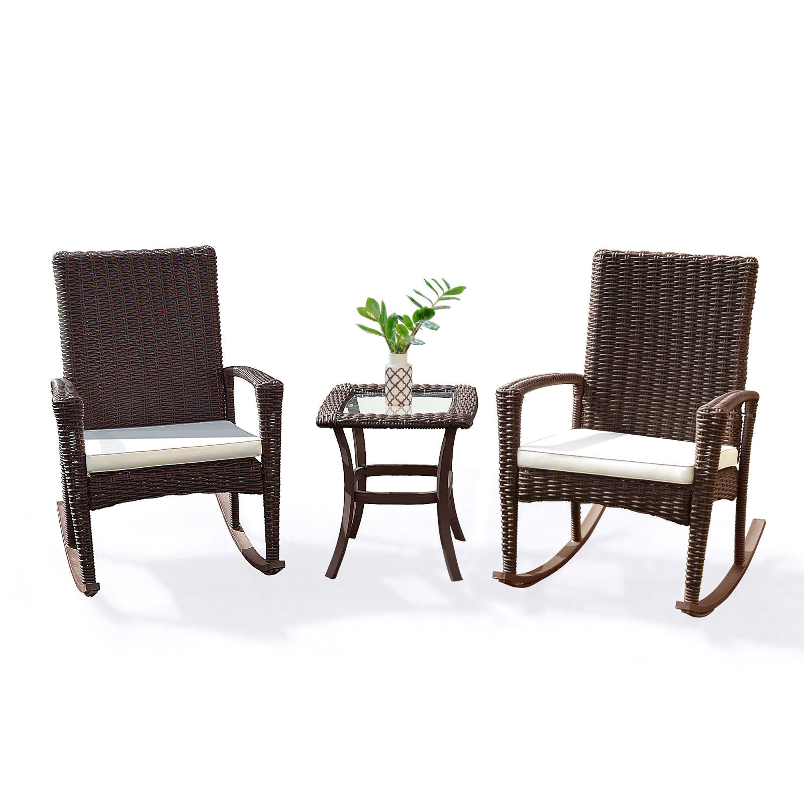 Gymax 3PC Patio Rattan Wicker Furniture Set Cushioned Outdoor Garden by Gymax