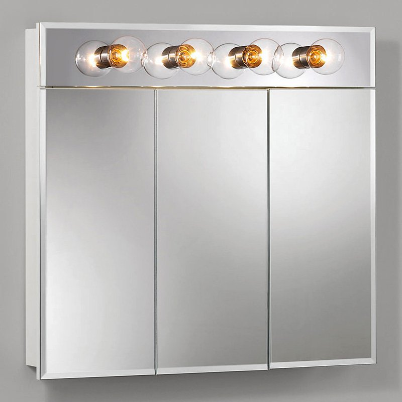 jensen medicine cabinet ashland triview 4light 30w x 28h in surface
