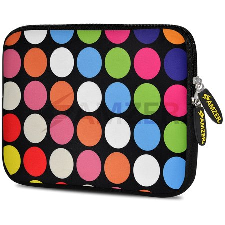Universal 9.7 - 10.5 inch Tabet Case, Premium Padded ShockProof Designer iPad Samsung Tab eBook Tablet Sleeve Case with Pack of 60 Zeiss Pre-Moistened Lens Cleaning Wipes - Dots Galore