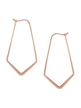 177993868 Product Image Geometric Chevron Threader Hoop Earrings - Lightweight Cutout Thin  Wire Drop Dangles, 24K Rose -. Humble Chic NY