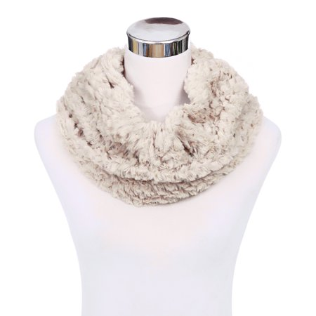 Fun Scarf (Soft Small Faux Fur Diamond Solid Color Warm Infinity Circle)