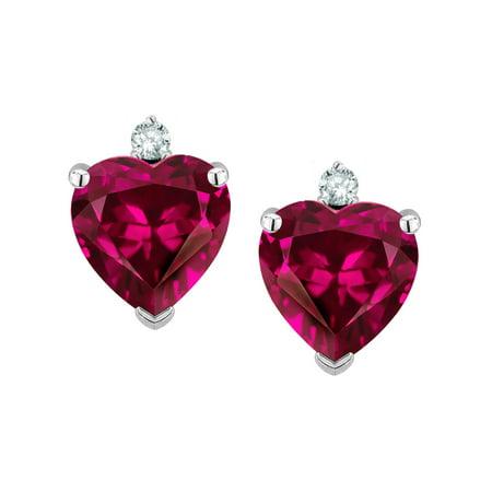 Star K Heart Shape 7mm Simulated Pink Tourmaline Earrings Studs