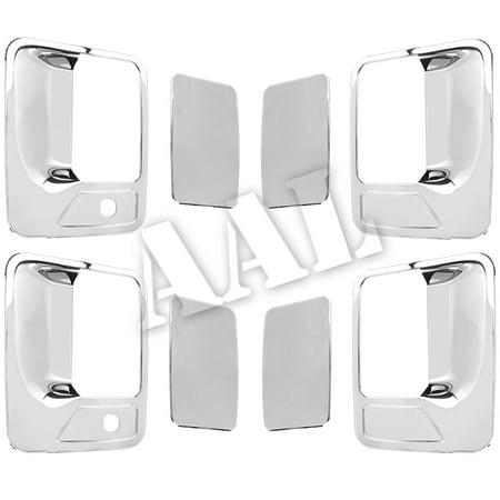 Super Duty Front Door Handle - AAL Premium Chrome 4 Door Handle Cover For 1999 2000 2001 2002 2003 2004 2005 2006 2007 2008 2009 2010 2011 2012 2013 2014 2015 2016 FORD Super duty F-250 F250 F-350 F350 F450 w/ PASSENGER Keyhole