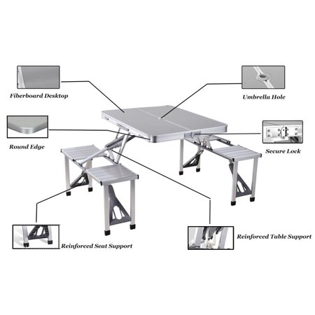 Moustache Aluminum Foldable Picnic Table with 4 Seats - image 3 of 9