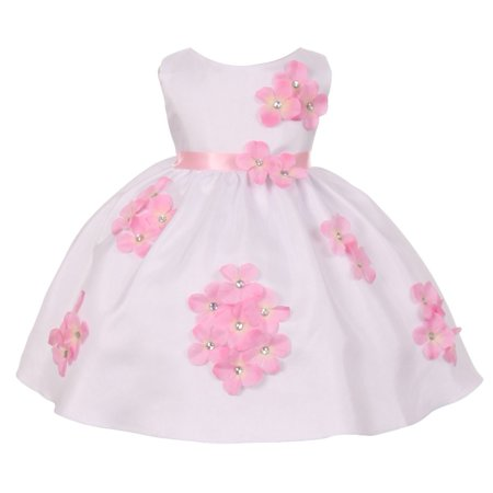 Kids Dream Baby Girls Pink Shantung Flower Petals Special Occasion Dress 6-24M