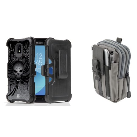 Rugged Case Holster Combo for Samsung Galaxy J3 Orbit (Black Death Winged Skull) with Gray Tactical Utility Pack and Atom Cloth for Samsung Galaxy J3 Orbit Black Skull Protector Case
