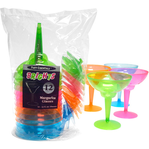 Plastic Neon Margarita Glasses, Pack of 12