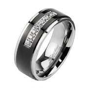 Mens Black IP Titanium Pave Cubic Zirconia Wedding  Ring Sizes 9-13 Father's Day