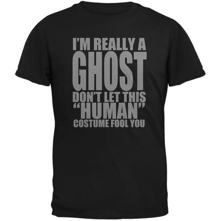 Halloween Human Ghost Costume Black Adult T-Shirt (Live Halloween Ghost Hunt)