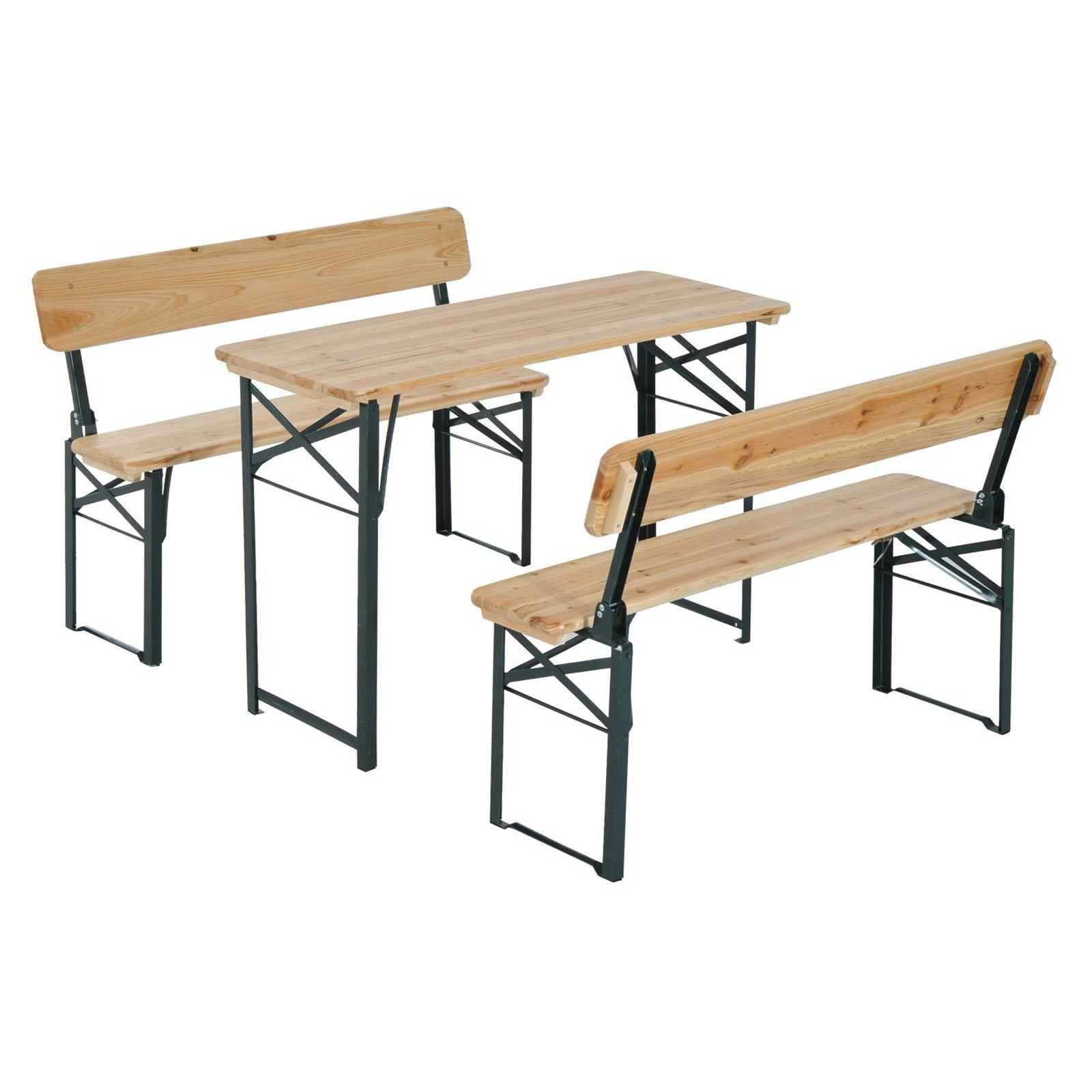 Outsunny Wooden 4 ft. Folding Picnic Table Set with Benches