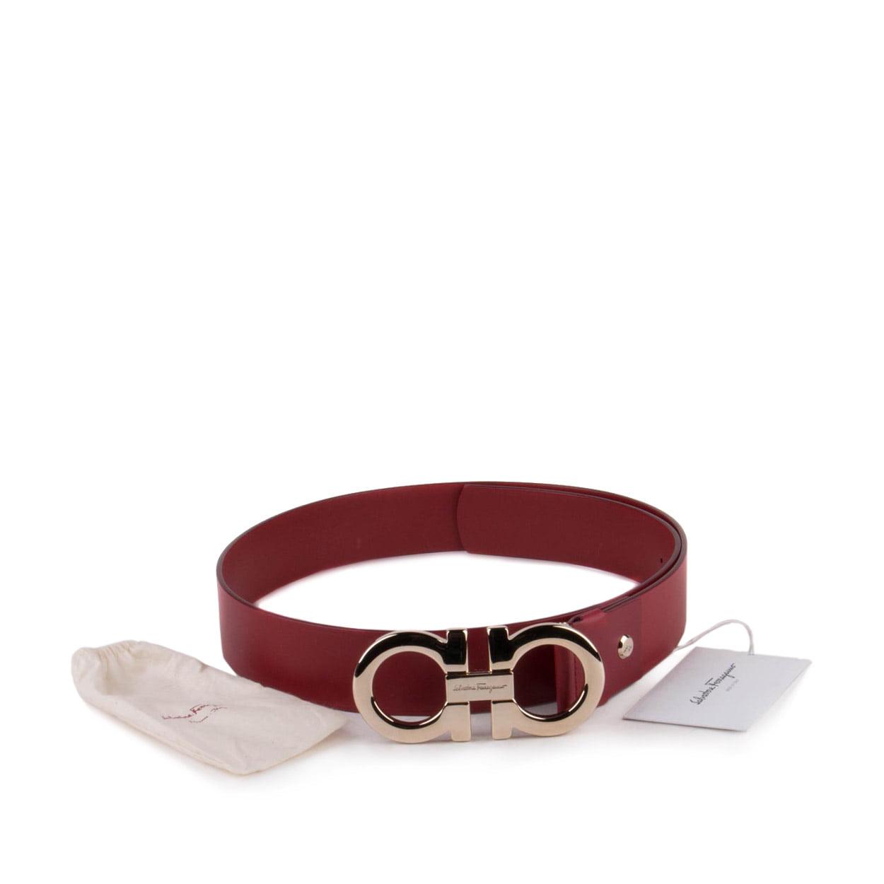 Salvatore Ferragamo Mens Double Gancio Adjustable Belt Ru...