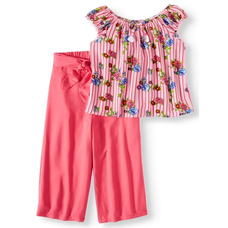 Wonder Nation Tassel Front Ruffle Top and Gaucho Pant, 2-Piece Outfit Set (Little Girls, Big Girls & Big Girls Plus)
