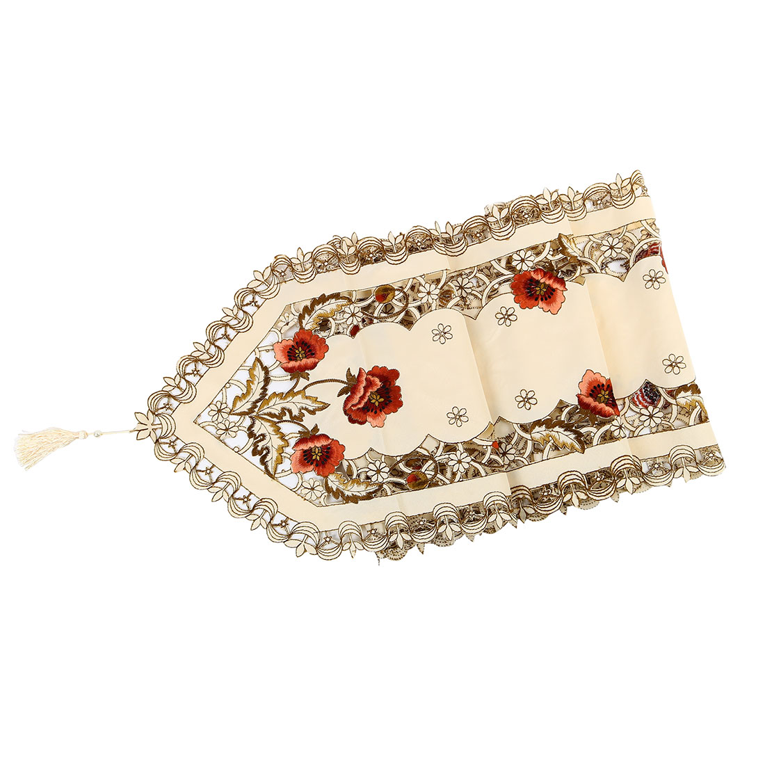 Vintage Flower Embroidery Table Runner Tassel Wedding Party Ornament Peony 40x150cm