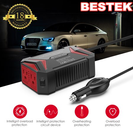 BESTEK Pure Sine Wave 300W Power Inverter DC 12V to AC 110V with 4.2A Dual Smart USB Ports Car