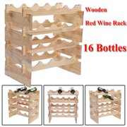 HERCHR Wooden Red Wine Rack Red Wine Holder Shelf Stand 16 Bottles, Wooden Red Wine Rack, Red Wine Stand