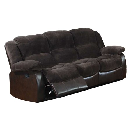 NH Designs Champion and Faux Leather Motion Sofa - Walmart.com