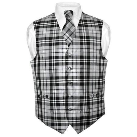 Men's Plaid Design Dress Vest & NeckTie Black Gray White Neck Tie Set (Vests For Men Cheap)