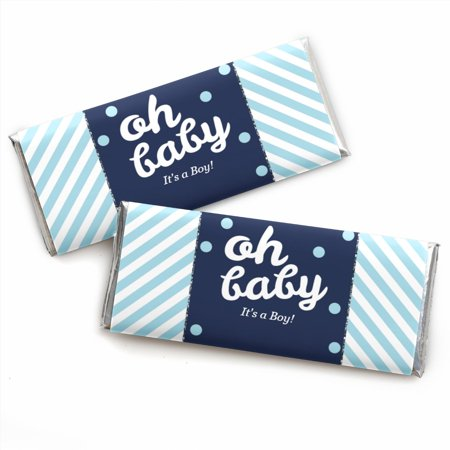 Hello Little One - Blue and Silver - Boy Baby Shower Candy Bar Wrappers Favors - Set of 24