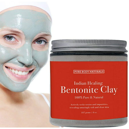 Sodium Bentonite Clay Mask, 100% Pure Indian Healing Clay Bentonite Powder for Detox Face Mask, Bath Soak and DIY, Deep Pore Cleansing for Acne - by Pure Body Naturals, 8.8 Oz ()