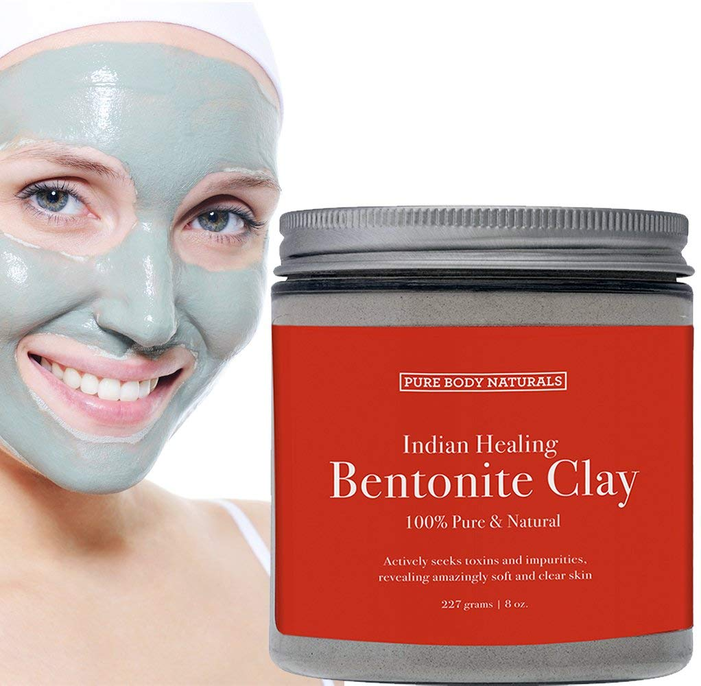 Sodium Bentonite Clay Mask, 100% Pure Indian Healing Clay Bentonite Powder for Detox Face Mask, Bath Soak and DIY, Deep Pore Cleansing for Acne - by Pure Body Naturals, 8.8 Oz