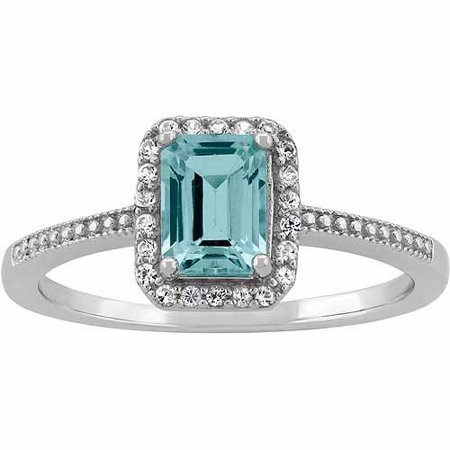 Aquamarine And Cz Sterling Silver Emerald Cut Halo Ring
