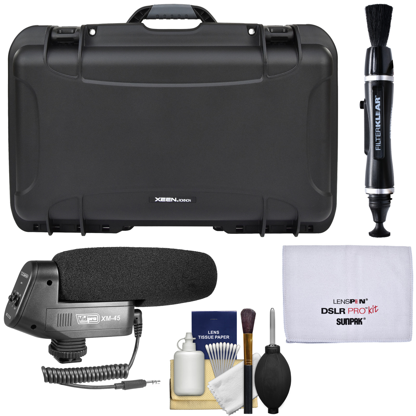 Rokinon Xeen Heavy Duty Foam Carry-on Hard Lens Case with Wheels (Holds 6 Lenses) with Microphone + Lens Pen + Kit