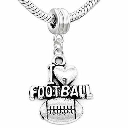 Football Charm Heart Dangle Charm European Bead Compatible for Most European Snake Chain Bracelet