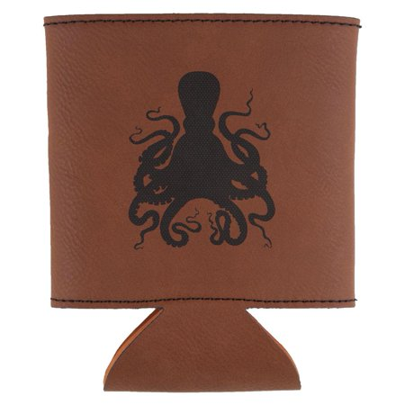 Octopus Etched Leatherette Can Cooler