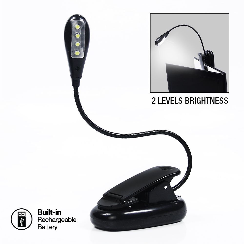eTopLighting Gooseneck Rechargeable 4-LED Book Light Clip-On Reading Computer Desk Work Lamp Cable Adapter, 2 Brightness... by Loadstone Studio