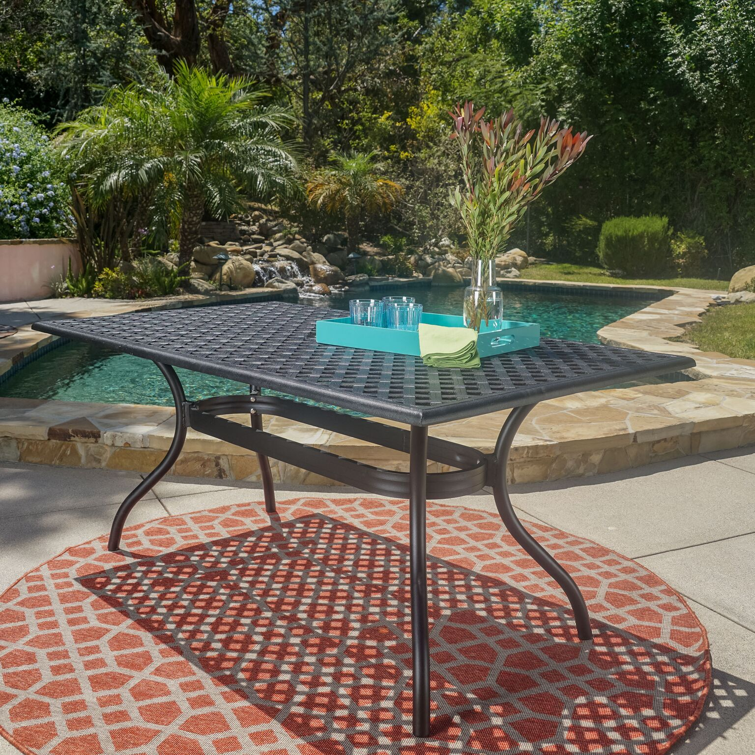 Noble House Caruba Outdoor Cast Aluminum Rectangle Dining Table, Black Sand