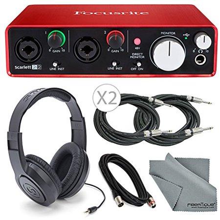 Focusrite Scarlett 2i2 (2nd Gen) USB Audio Interface W/ Cables + Samson (Mackie Onyx Blackjack Vs Focusrite Scarlett 2i2)