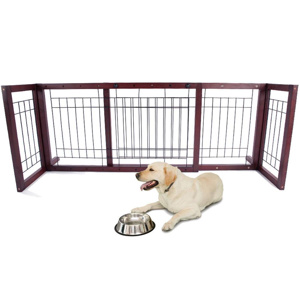 Zimtown New Coffee Wood Dog Gate Playpen Adjustable Indoor Solid Construction Pet Fence
