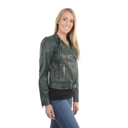 coupon code most popular special discount of Women's Juniors Fashionable Faux Leather Moto Biker Jacket with Pockets |  Walmart Canada