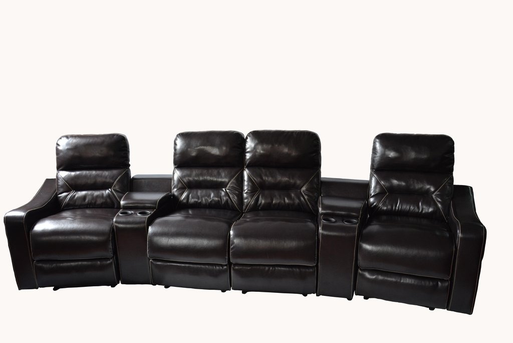 MCombo New 4 Seat Leather Home Theater Vibrating Recliner Media Sofa With  Cup Holder 7096