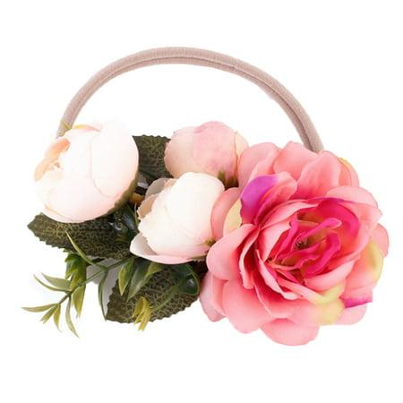 StylesILove Womens Girls Handmade Flower Crown Chic Wreath Elastic Headband (Coral,