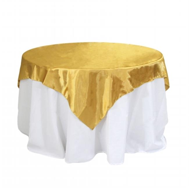 Koyal Wholesale 404097 Satin Table Overlay   Gold   90 X 90 In.
