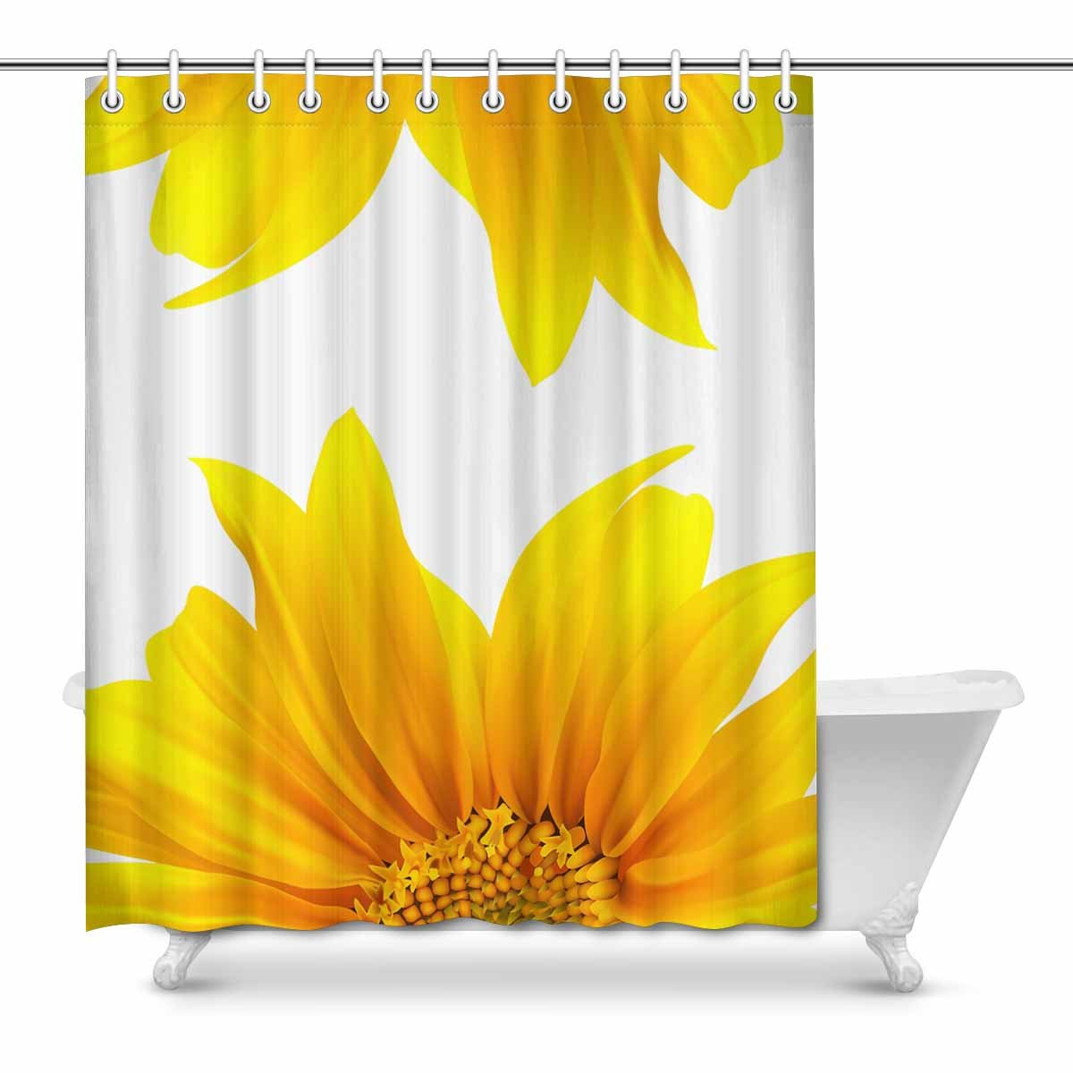 MKHERT Sunflower Modern Flourishing Yellow Summer Flower Waterproof Shower Curtain Decor Fabric Bathroom Set 66x72 inch