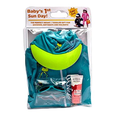 Baby's 1st Sun Day Baby Toddler Long Sleeve Sunsuit, Sun Cap, Sun Glasses and Goddess Garden Natural Sunscreen Ultimate Sun Protection Kit (12 to 18 Months, Teal)