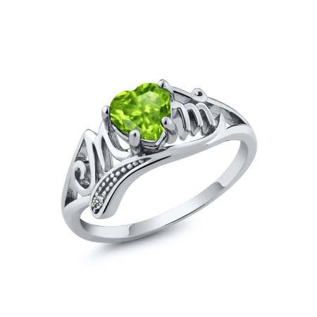 Sterling Silver Mop - 0.52 Ct Heart Shape Green Peridot White Diamond 925 Sterling Silver Mom Ring