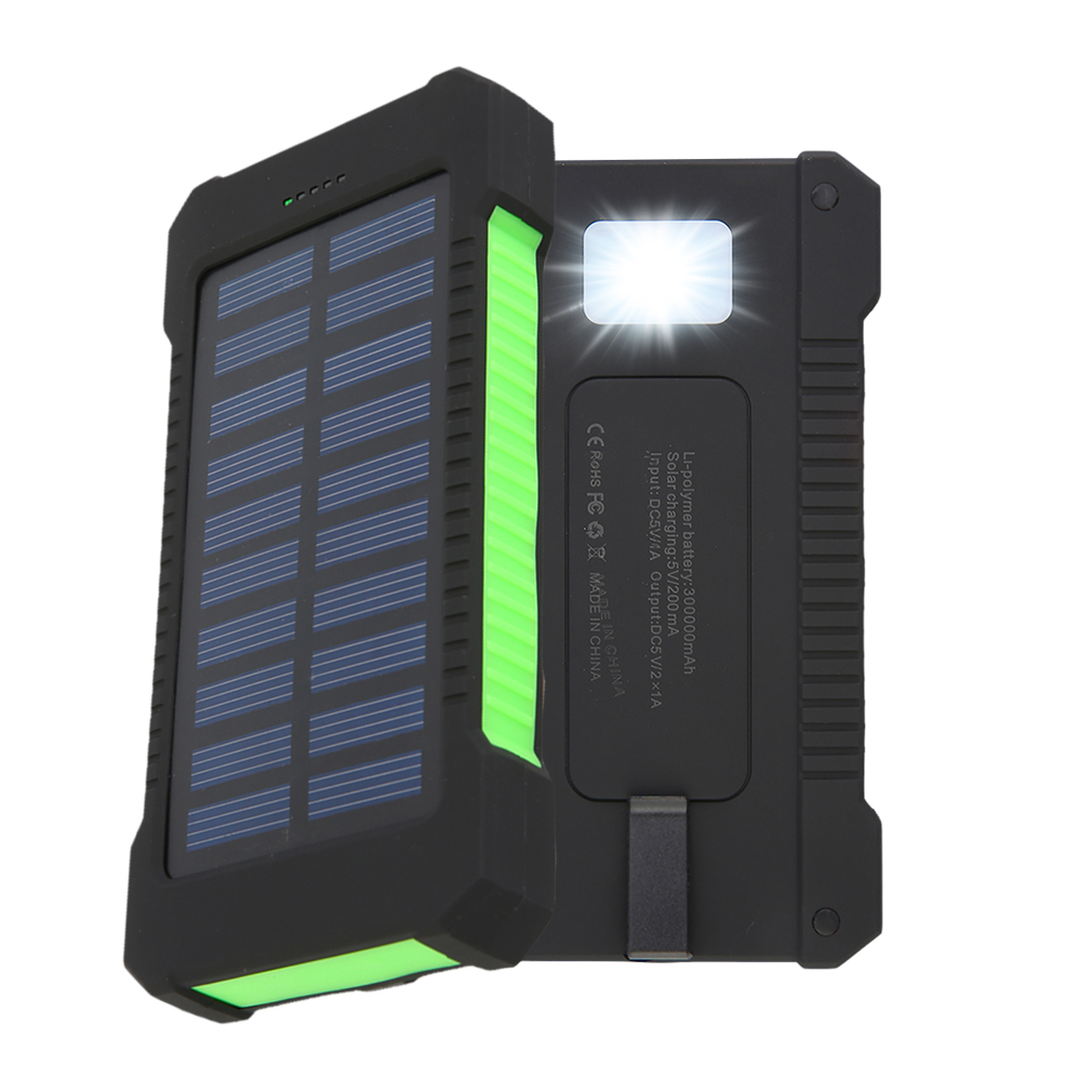 300000mAh Dual USB Portable Solar Battery Charger Solar Power Bank,Green