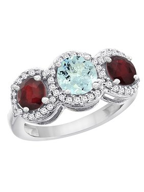 10K White Gold Natural Aquamarine & Enhanced Ruby Sides Round 3-stone Ring Diamond Accents, size 5