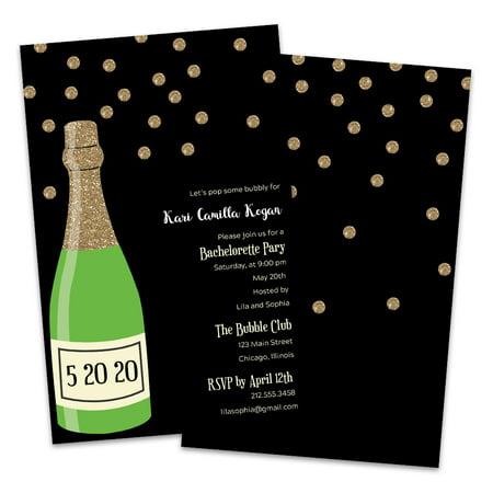 Personalized Champagne Bottle Bachelorette Party Invitations