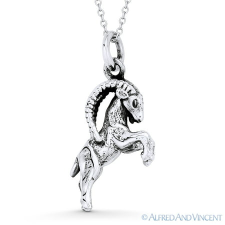 Capricorn Zodiac Sign Astrology Pendant & Cable Chain Necklace in Oxidized .925 Sterling (Capricorn Zodiac Charm Pendant)