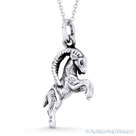 Capricorn Zodiac Sign Astrology Pendant & Cable Chain Necklace in Oxidized .925 Sterling -