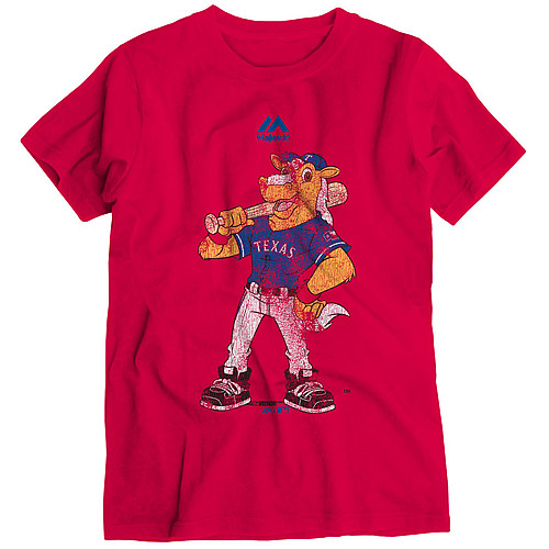 Texas Rangers Majestic Youth Vintage Mascot T-Shirt - Red