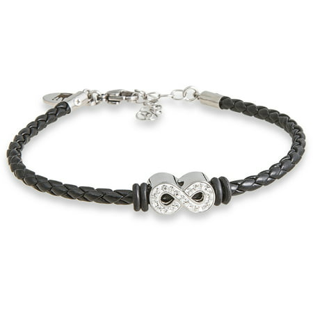 Clear Crystal Stainless Steel Infinity Braided Bracelet, 7 with 1.5 Extender