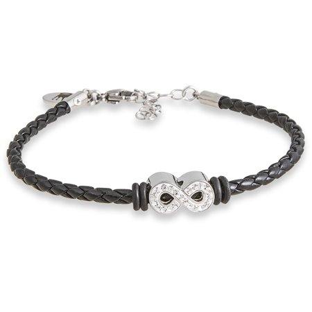 Clear Crystal Stainless Steel Infinity Braided Bracelet, 7 with 1.5 (7 Austrian Crystal Bracelet)