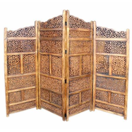 Wood Room Divider 4 Panel Carved -