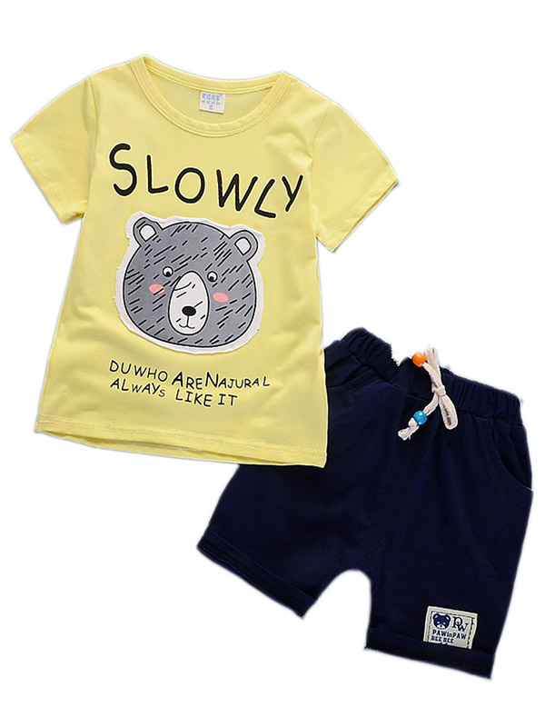 MOVEmen Infant Baby Boy Girl Cartoon Print T-Shirt Tops+Bear Suspenders Romper Outfits Strap Shorts Beach Shirt