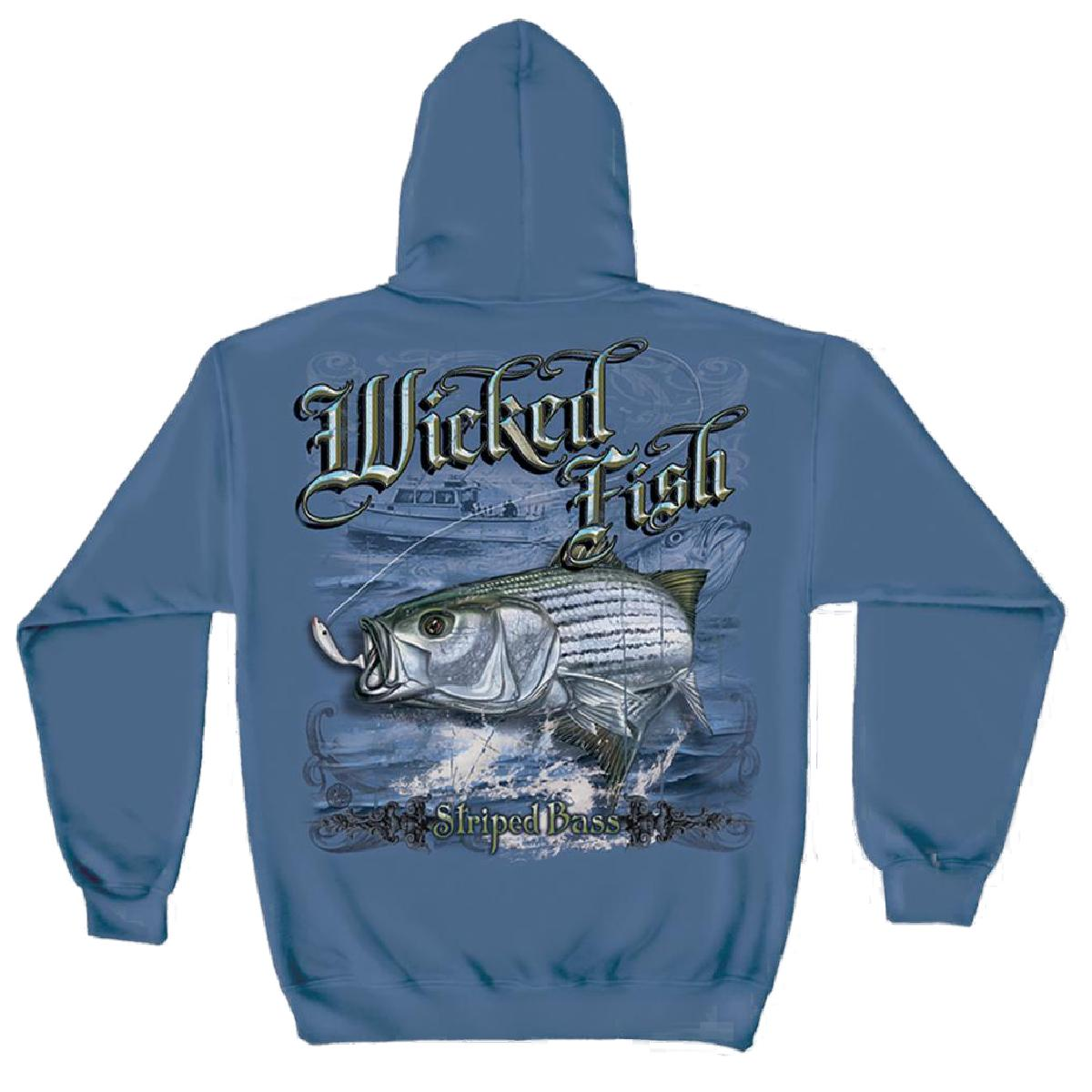 Wicked Fish Striped Bass Hooded Sweatshirt by , Indigo Blue, L